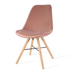 roze-eetkamerstoel-houten-onderstel