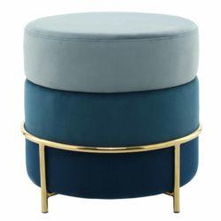 Luxe blauwe poef Mathilde