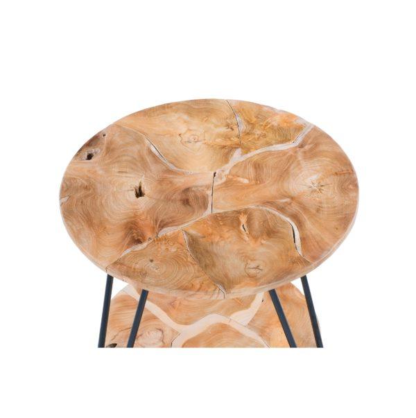 Ronde naturel houten bijzettafel Roy