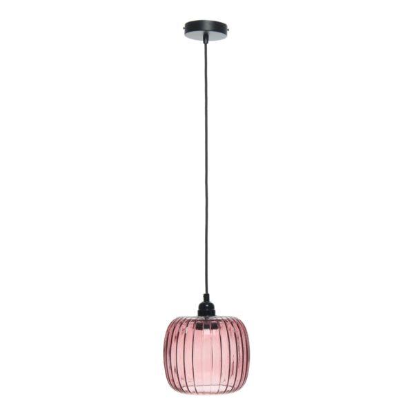 Roze glazen hanglamp Carla