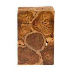 Glanzende vierkante houten bijzettafel Blok