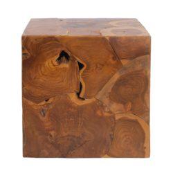 Vierkante houten bijzettafel Blok XL Glanzend