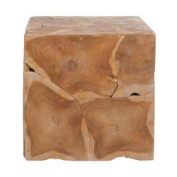 Vierkante houten bijzettafel Blok XL Naturel