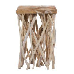 Vierkante houten bijzettafel Wooody Naturel