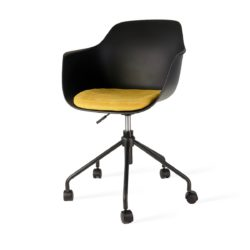 Zwarte bureaustoel met armleuning Florence geel