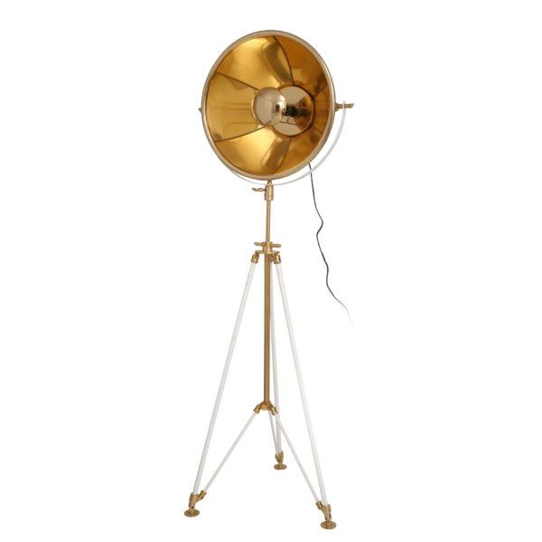 Gouden vloerlamp Rowie met wit