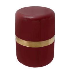 Rode ronde bijzettafel met goud Jori