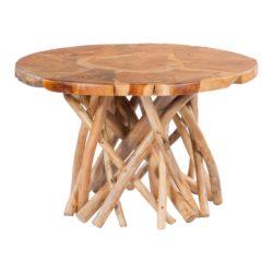 Ronde glanzende bijzettafel van hout Roots