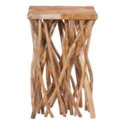 Vierkante houten bijzettafel Wooody Glanzend