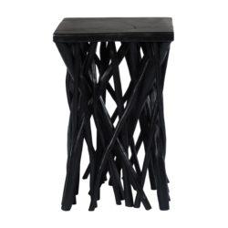 Zwarte vierkante houten bijzettafel Wooody