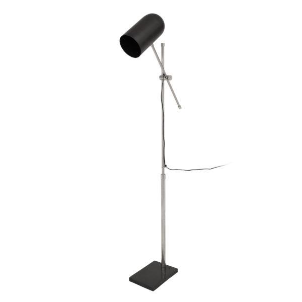 Zilveren vloerlamp Cilia met zwart