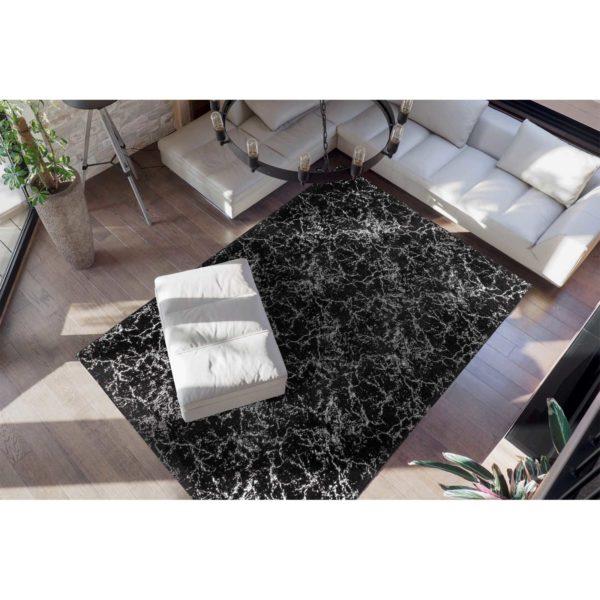 Luxe zwart met zilver vloerkleed