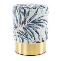 Poef Tropical met blauw en goud