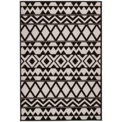 Zwart-beige-retro-vloerkleed