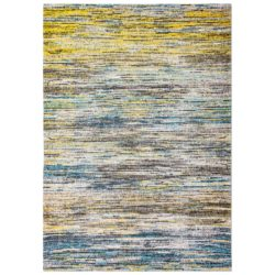 Blauw met geel vloerkleed