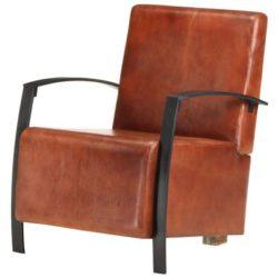 Bruin lederen fauteuil Jonas