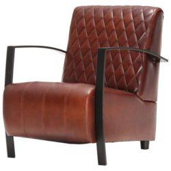 Bruine landelijke fauteuil van echt leer Pim