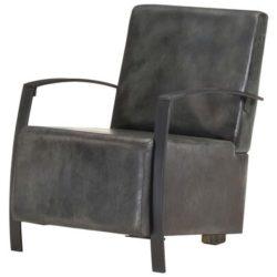 Grijs lederen fauteuil Jonas