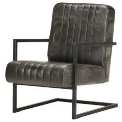 Grijze industriële fauteuil Jim