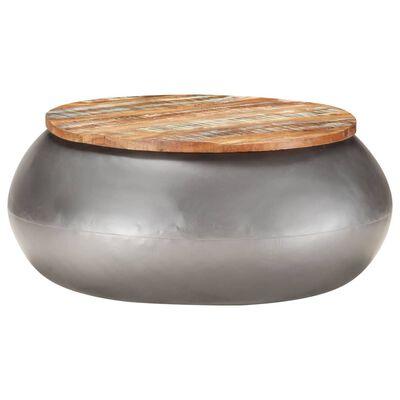 Grijze ronde salontafel met hout Arta