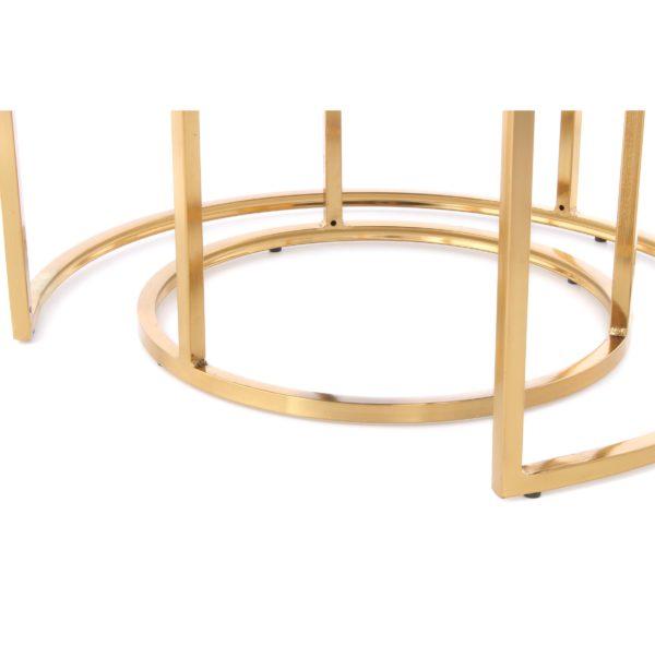 Luxe taupe hocker met goud Alanya (set van 2)